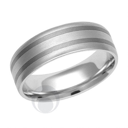 Titanium and Platinum Wedding Ring - PRC1143TIP