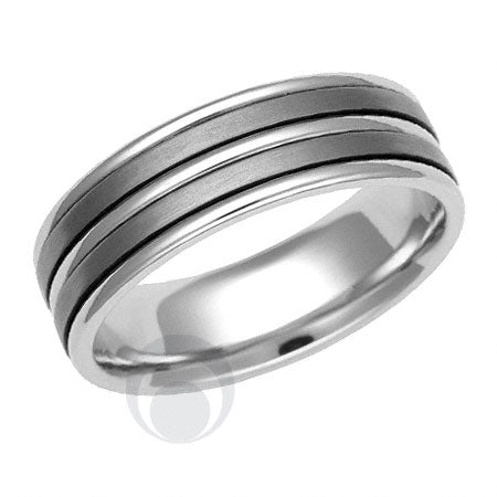 Titanium and Platinum Wedding Ring - PRC1152TIP