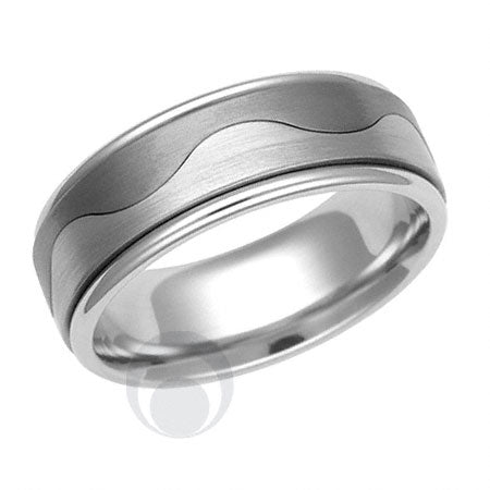 Titanium and Platinum Wedding Ring - PRC1208TIP