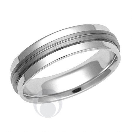 Titanium and Platinum Wedding Ring - PRC1444TIP