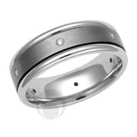 Titanium and Platinum Wedding Ring - PRC1523TIP