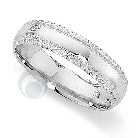 Platinum Patterned Wedding Ring - PRCCT5056-4GP