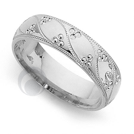 Platinum Patterned Wedding Ring - PRCCT5192-4GP