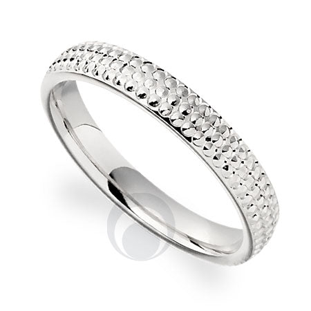Platinum Patterned Wedding Ring- PRCCT670C - Finger Size J
