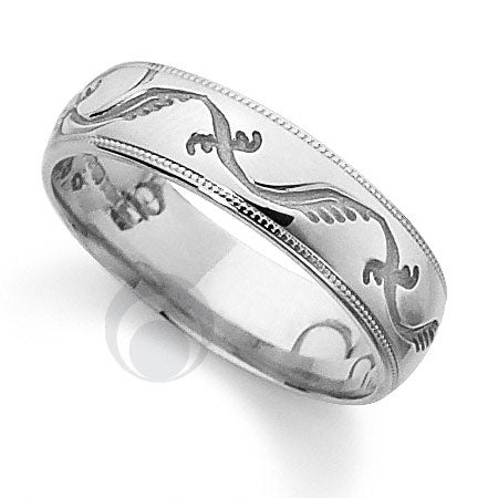 Platinum Patterned Wedding Ring