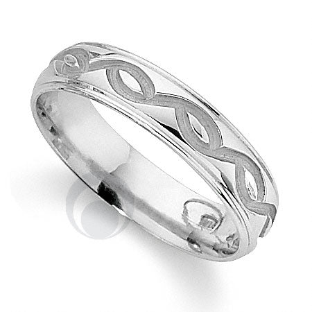Platinum Patterned Wedding Ring - PRCCTG828-4GP