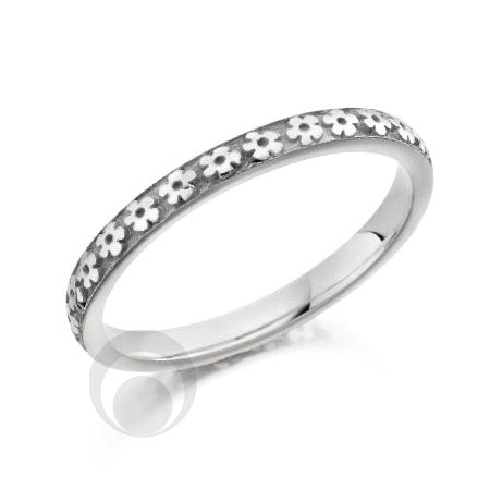 Floral Patterned Platinum Wedding Ring - PRC2040-25