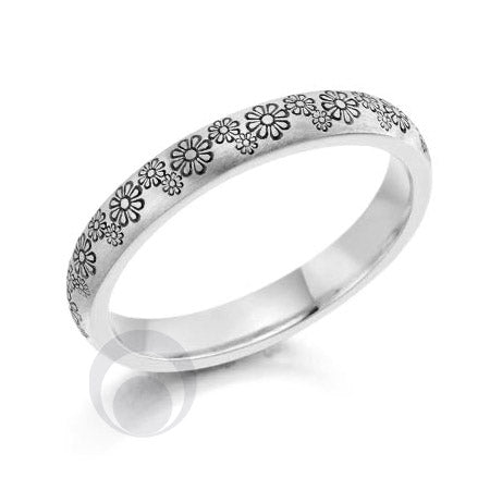 Floral Patterned Platinum Wedding Ring - PRC2041-25
