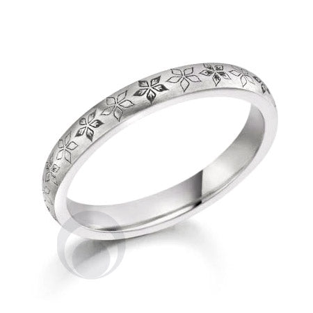 Floral Patterned Platinum Wedding Ring - PR2042-25