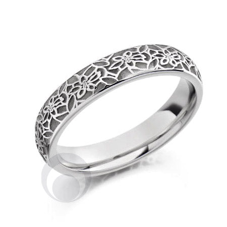 Floral Patterned Platinum Wedding Ring
