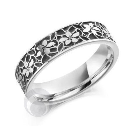 Floral Patterned Platinum Wedding Ring - PRC2044-4