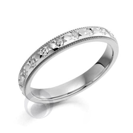 Floral Patterned Platinum Wedding Ring - PRC2045-25