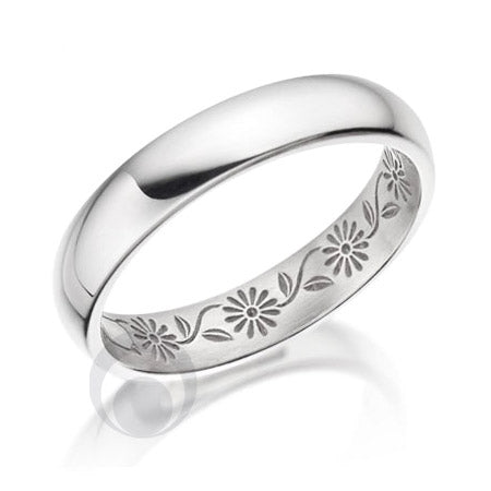 Floral Patterned Platinum Wedding Ring - PRC2047-30