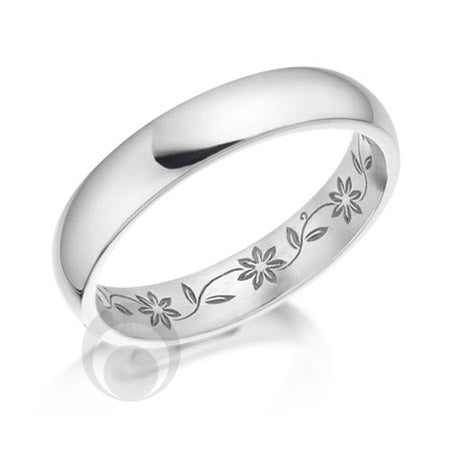 Floral Patterned Platinum Wedding Ring - PRC2048-30