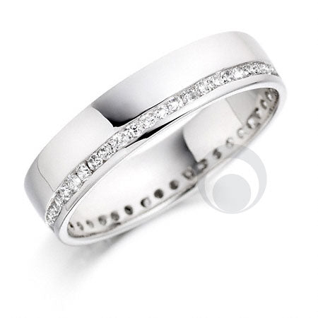 Diamond Platinum Wedding Ring - PRC007C - Size Q