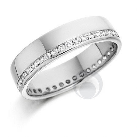 Diamond Platinum Wedding Ring - PRC008C - Sizes Q, R, U