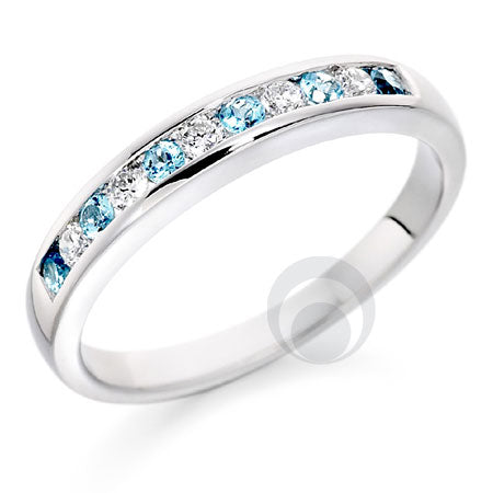 Diamond and Blue Topaz Eternity Ring