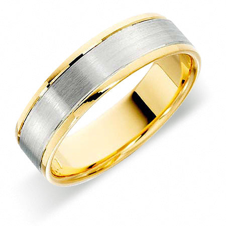 Platinum Wedding Ring Two Colour - RFT601-4IP