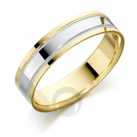 Platinum Wedding Ring Two Colour - RFT606-4IP