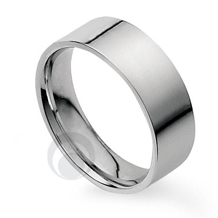 10mm Plain Platinum Flat Court Wedding Ring - SP10S (18.4g)