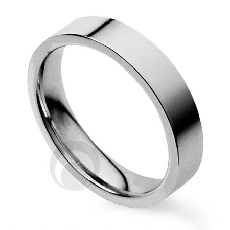 3mm Plain Platinum Flat Court Wedding Ring