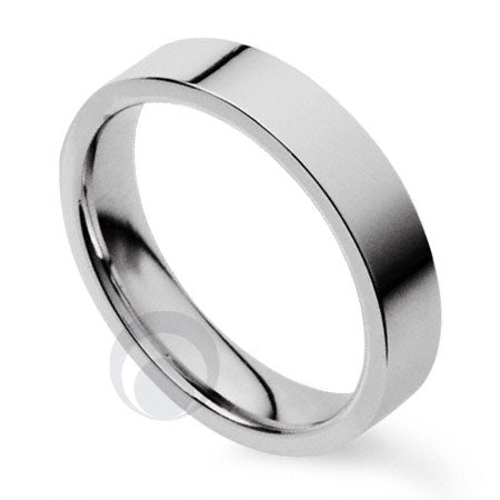 4mm Plain Platinum Flat Court Wedding Ring