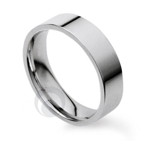 5mm Plain Platinum Flat Court Wedding Ring
