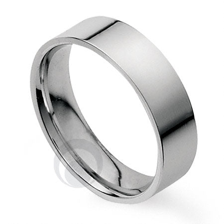 6mm Plain Platinum Flat Court Wedding Ring