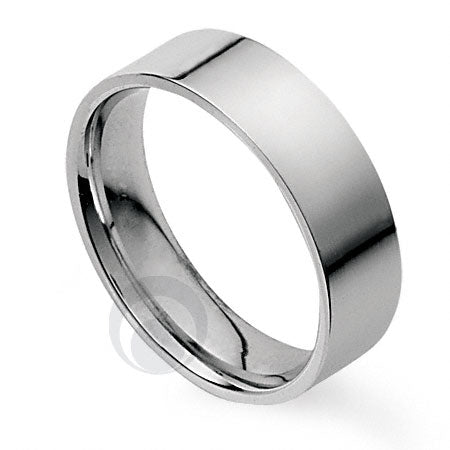 7mm Plain Platinum Flat Court Wedding Ring