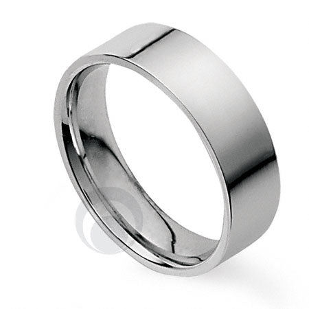 8mm Plain Platinum Flat Court Wedding Ring
