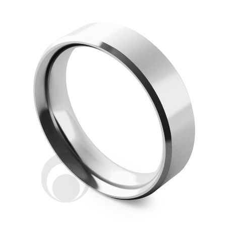 5mm Platinum Flat Court Bevelled Wedding Ring