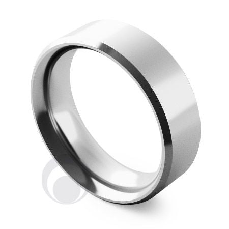 6mm Platinum Flat Court Bevelled Wedding Ring