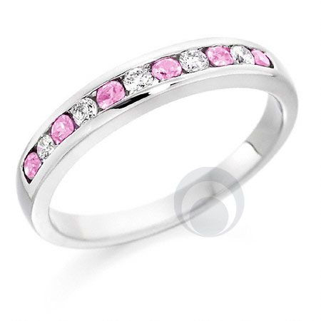 Diamond and Pink Sapphire Eternity Ring - PRC022PS