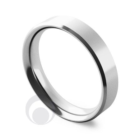 4mm Platinum Flat Court Bevelled Wedding Ring
