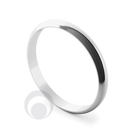 Platinum D-Shape Bevelled Wedding Ring - DP3BES (4.36g)