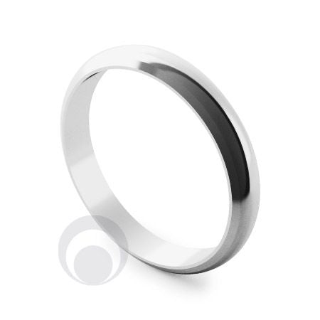 4mm Plain Platinum D-Shape Bevelled Wedding Ring