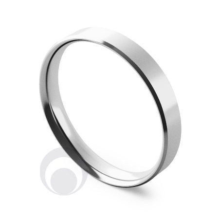 3mm Platinum Flat Court Bevelled Wedding Ring
