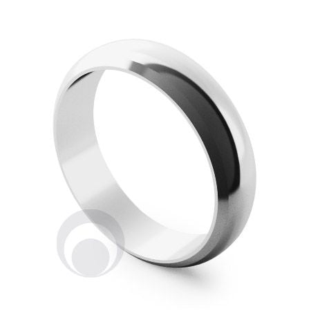 6mm Plain Platinum D-Shape Bevel Wedding Ring