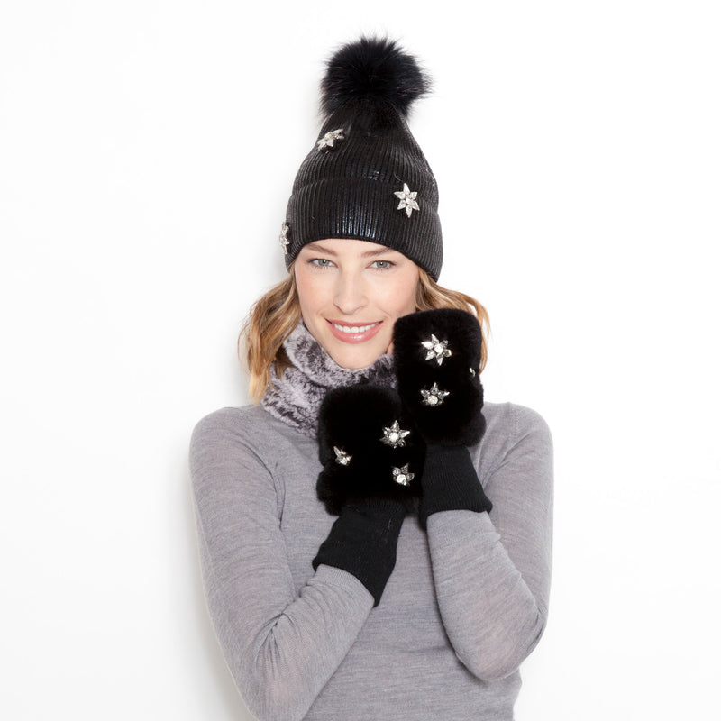 Star Fingerless Fur Mittens