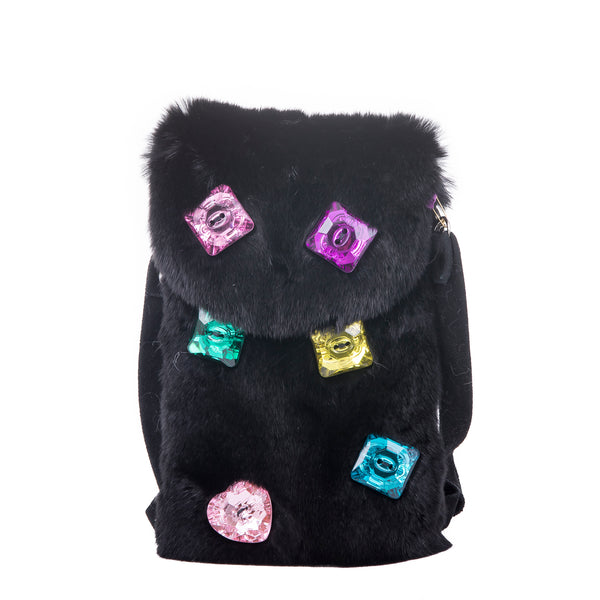 Multi-Jewel Mink Crossbody Phone Bag