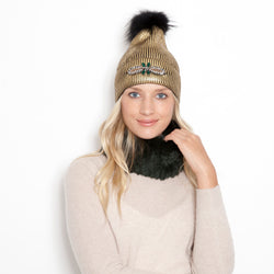 Dragon Fly Gold Metallic Knit Pom Pom Hat