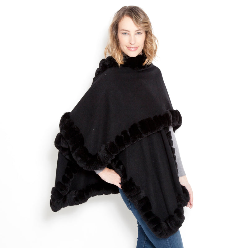 Signature Oversize Snap Sleeve Poncho Black