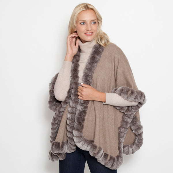 Signature Oversize Snap Sleeve Poncho Taupe Snow Top