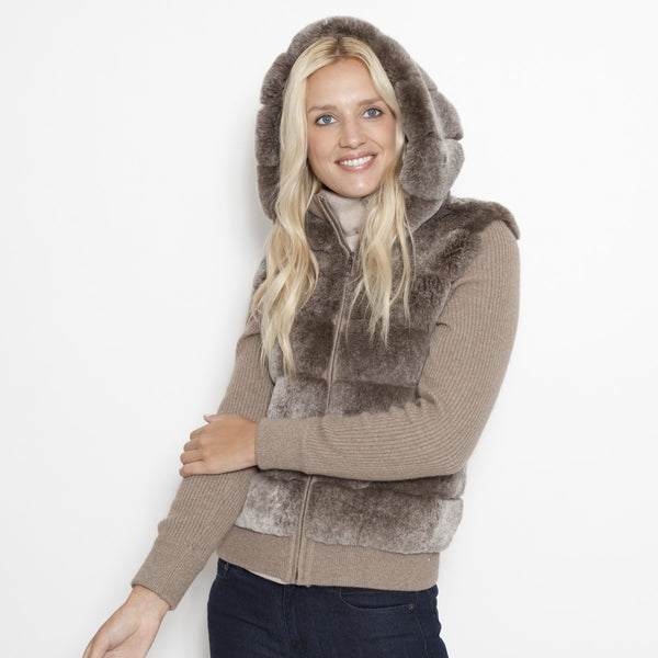 Knit Hooded Bomber with Rex Front