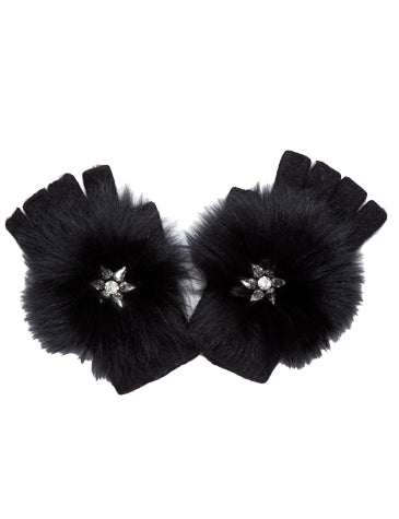 Fluff With Stars Fingerless Angora Knit Glove