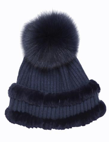 Hilary Angora Rex Whipstitch Knit Hat