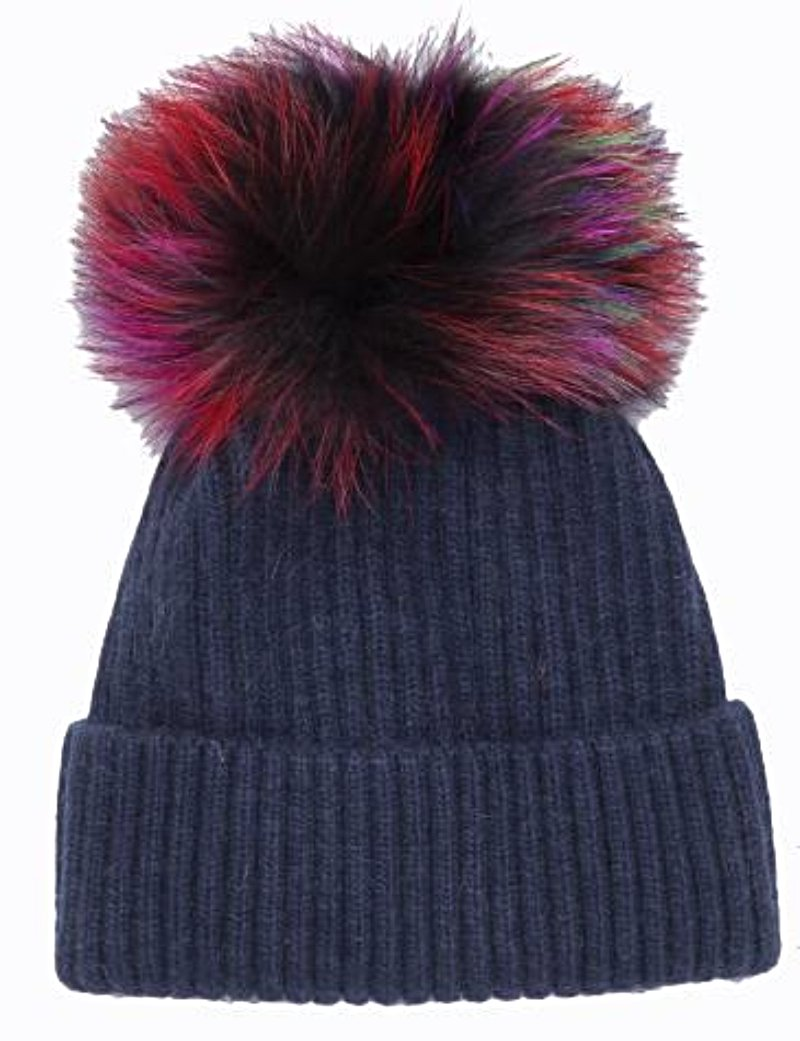 Knit Angora Hat with Multi Pom Pom