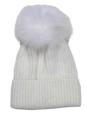 Snowball Angora Knit Hat