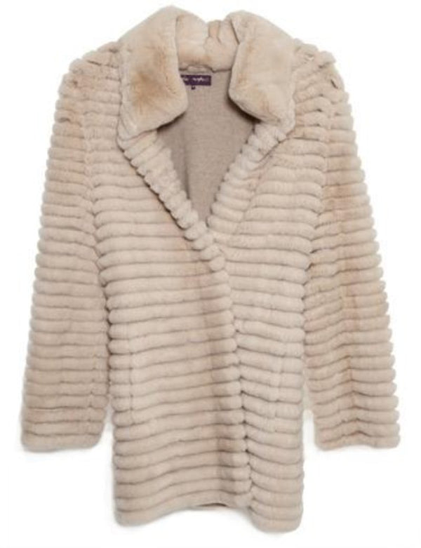 Sweater Coat Layered Rex Rabbit Beige