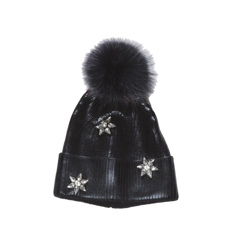Night Star Painted Black Knit Hat